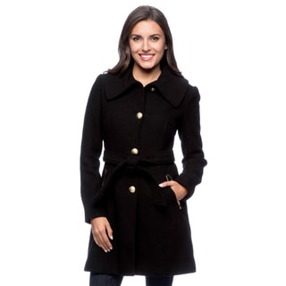 Jessica Simpson Women's Wool Black Self Belt and Envelope Collar Basketweave Coat