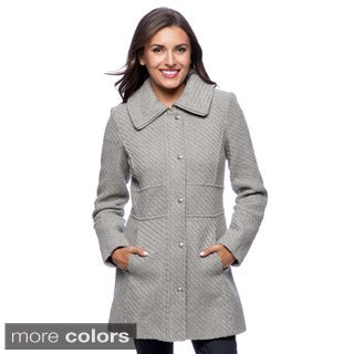 Jessica Simpson Women's Braided Wool Blend Coat