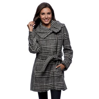 Jessica Simpson Women's Black and White Plaid Belted Jacket