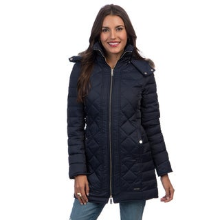 Kenneth Cole Women's Zip-down Faux Fur Trim Hooded Coat