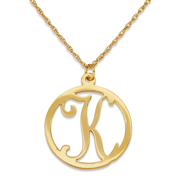 gold sterling single initial circle necklace