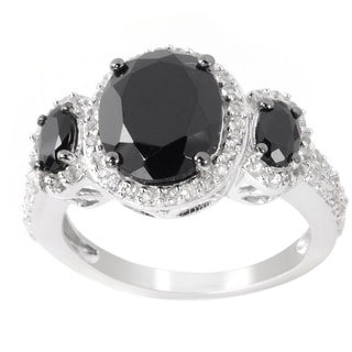 Sterling Silver Black Spinel/ White Topaz Three-stone Ring