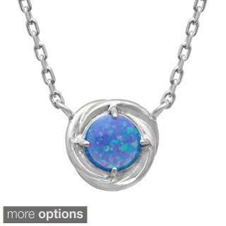 Gioelli Sterling Silver Created Gemstone Swirl Necklace