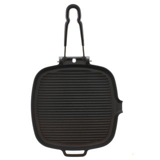 Chasseur French Cast Iron Black Square Grill by French Home with Folding Handle