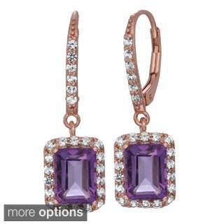 Gioelli Sterling Silver Gemstone/ Created Sapphire Dangle Earrings