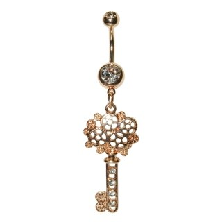 Supreme Jewelry Gold Antique Key Belly Ring