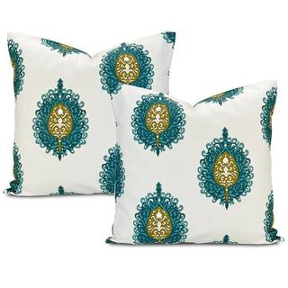 Mayan Teal Cotton Pillow Cover (Set of 2)