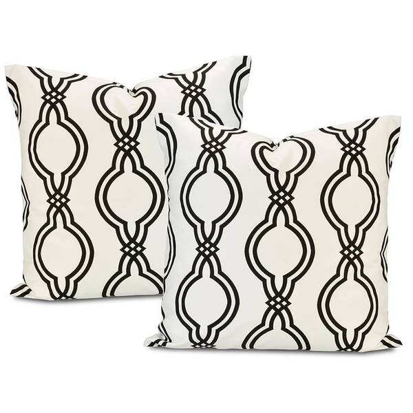 Ogee Black Contemporary Cotton Pillow Cover (Set of 2)