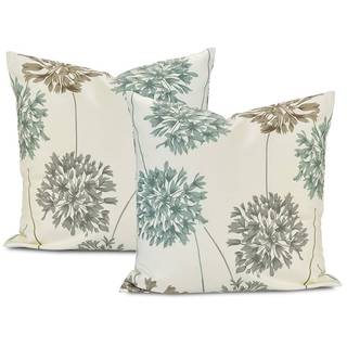 Allium Blue/ Grey Cotton Pillow Cover (Set of 2)