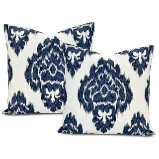 Ikat Blue/ White Cotton Pillow Cover (Set of 2)