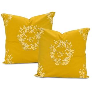 Isles Mustard Printed Cotton Cushion Cover (Set of 2)
