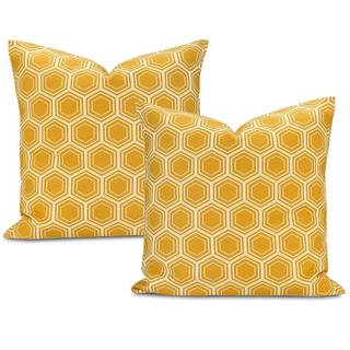 Honeycomb Printed Cotton Cushion Cover (Set of 2)
