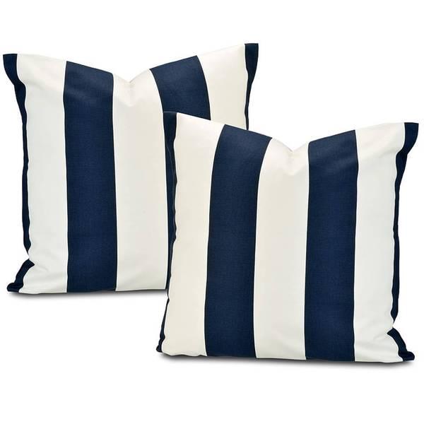 Cabana Navy Stripe Cotton Pillow Cover (Set of 2)