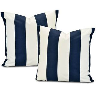 Cabana Navy Stripe Cotton Pillow Cover (Set of 2)