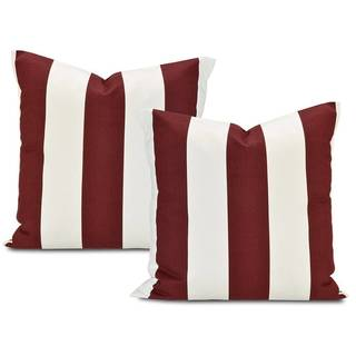 Cabana Burgundy Stripe Cotton Pillow Cover (Set of 2)