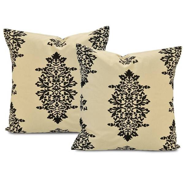 Jakarta Khaki/ Black Cotton Pillow Cover (Set of 2)