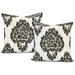 Ikat Black Printed Cotton Cushion Cover (Set of 2)