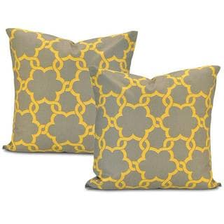 Marabella Grey/ Yellow Cotton Pillow Cover (Set of 2)