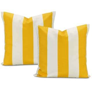 Cabana Yellow Stripe Cotton Pillow Cover (Set of 2)