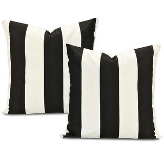 Cabana Black Printed Cotton Cushion Cover (Set of 2)