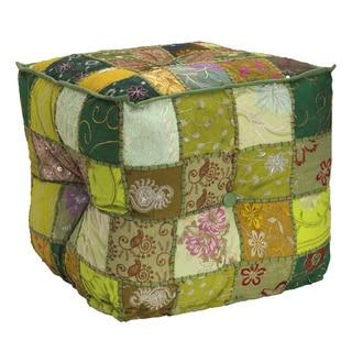 Elements Green Patchwork Velvet Square Pouf