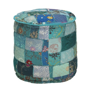 Elements Blue Patchwork Velvet Round Pouf