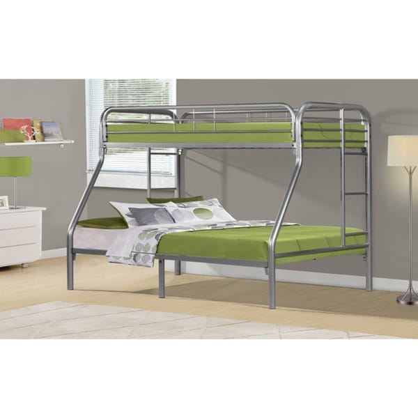 Silver Metal Twin/ Full Bunk Bed 12935360