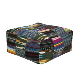 Elements Tribal Pattern Velvet Square Pouf
