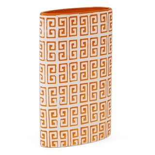Elements 12-inch Orange Greek Key Ceramic Vase