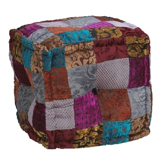 Elements Multicolor Patchwork Velvet Square Pouf