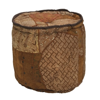 Elements Brown Patchwork Velvet Round Pouf