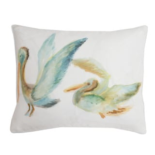 Suzie Watercolor Pelican Feather Fill Throw Pillow
