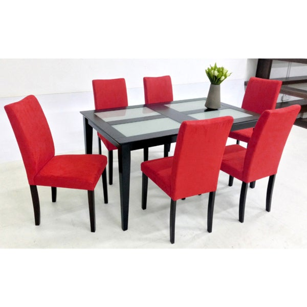 Warehouse Of Tiffany Shino Brown Black 7 Piece Glass Table Dining Set