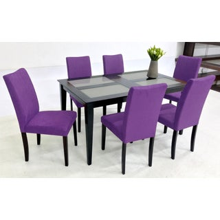 Warehouse of Tiffany Shino Purple 7-piece Glass Table Dining Set