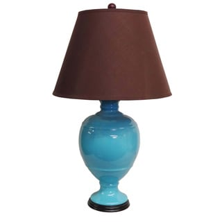 Round Turquoise Lamp with Brown Shade