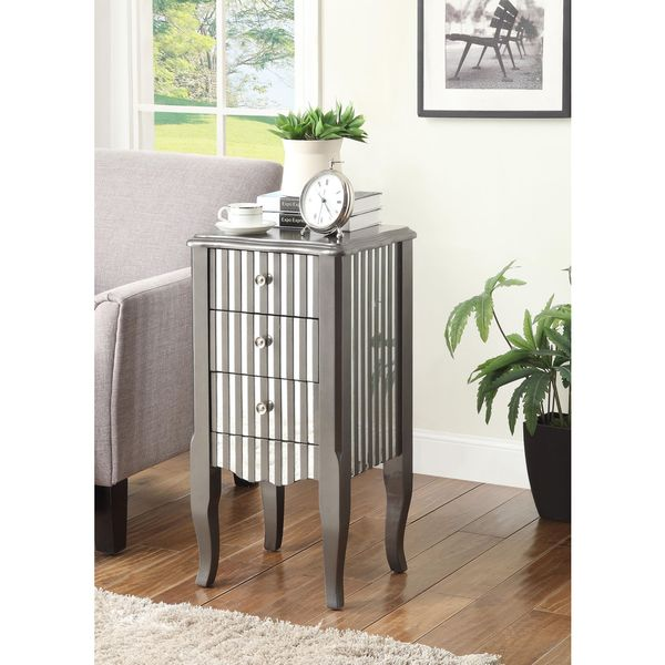 Oriel Grey Striped Side Table
