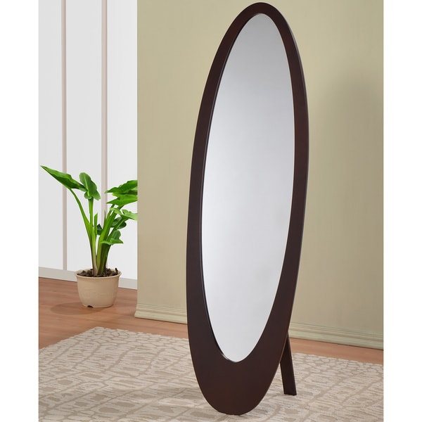 Cappuccino Finish Wooden Oval Cheval Floor Mirror