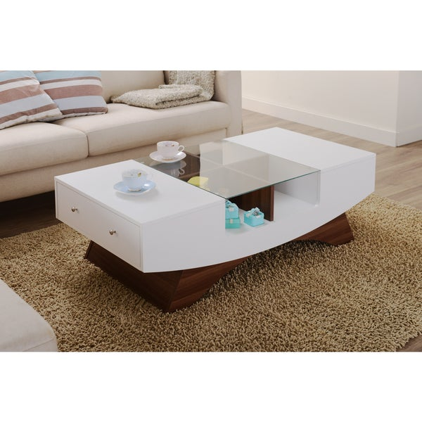 Details About Coffee Table Glass Drawers White Modern Contemporary