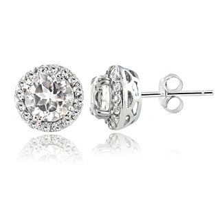 Glitzy Rocks Sterling Silver 2ct White Topaz Round Halo Stud Earrings