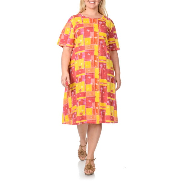La Cera Women's Plus Size Floral Patchwork Print Dress