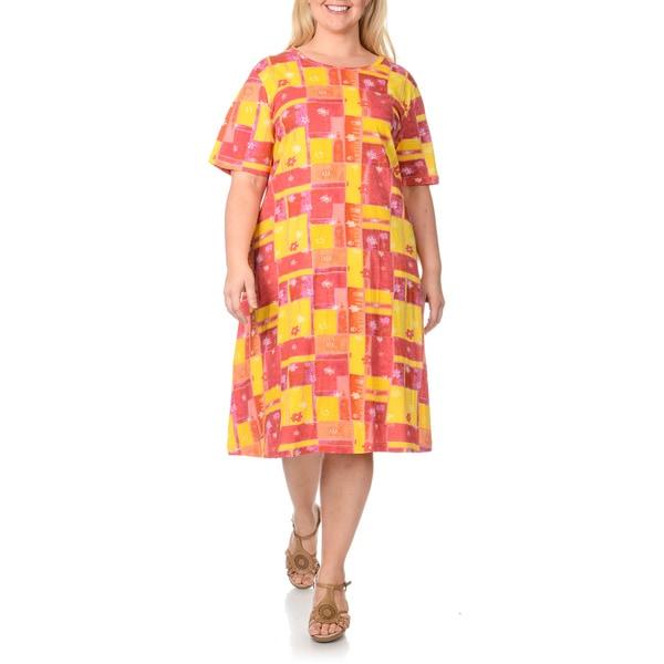 La Cera Women's Plus Size Floral Patchwork Print Dress