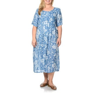 La Cera Women's Plus Size Teal Floral Print Button-front Dress