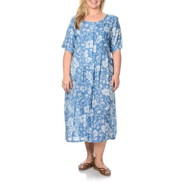 La Cera Women's Plus Size Teal Floral Print Button-front Dress