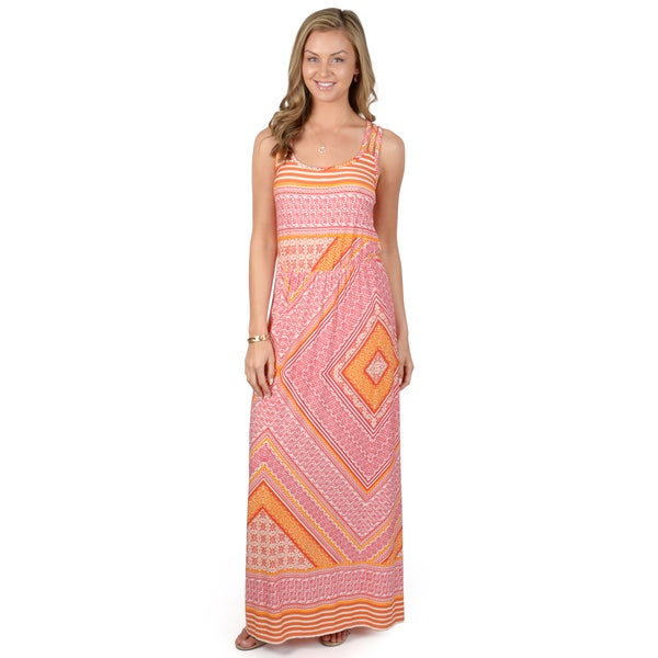 Sangria Women's Printed Blouson Maxi Dress