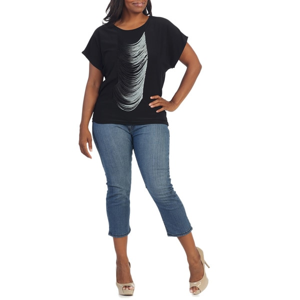 Women's Plus-size Black Fringe Drape Tee