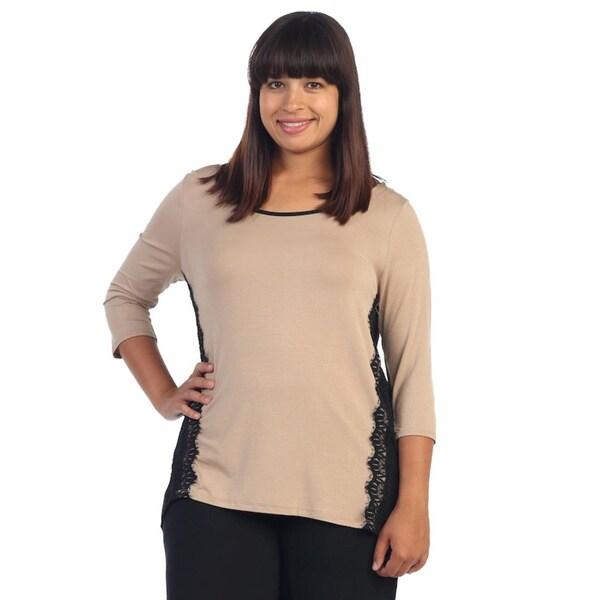 Hadari Women's Plus Beige and Black Lace Panel Top