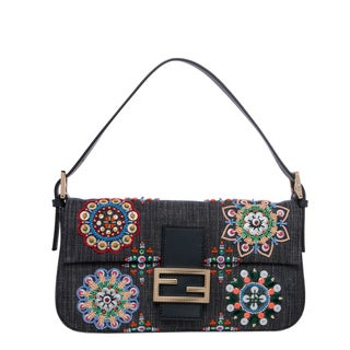 Fendi Ink Blue Embroidered Denim Baguette
