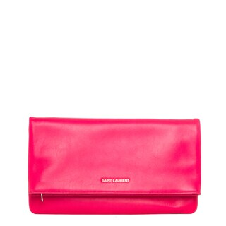 Saint Laurent 'Letters' Neon Pink Leather Fold-over Clutch