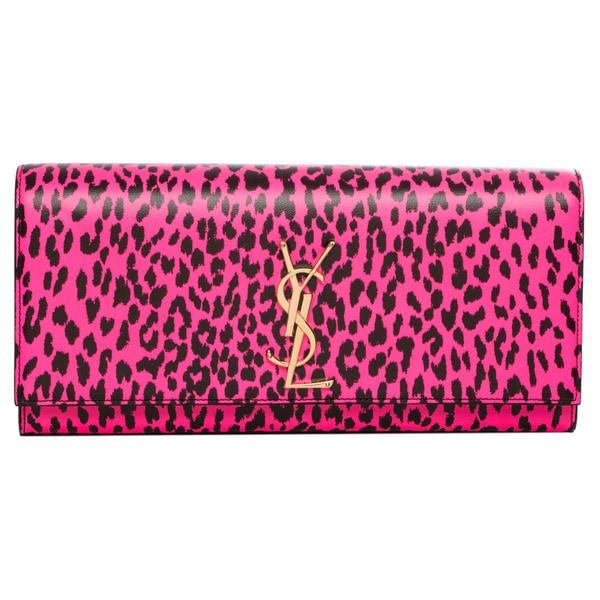 Saint Laurent 'Cassandre' Pink/ Black Leopard Print Leather Clutch