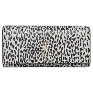Saint Laurent 'Cassandre' Black/ White Leopard Print Leather Clutch